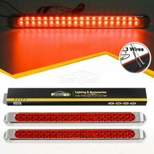 "2xSealed Red 40 LED Stop Third Brake Turn 17"" Truck Trailer Marker ID Light Bars"