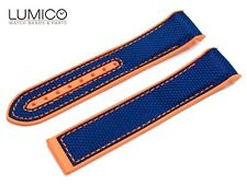 For 20mm 22mm OMEGA SeaMaster Planet ORANGE BLUE Rubber Strap Watch Band Clasp