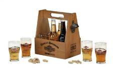 Harley-Davidson® Wood Crate Bottle Carrier Caddy w/ Set of 6 Glasses HDL-18762