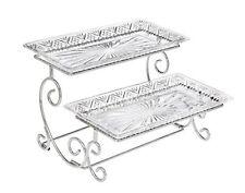 Godinger Silver Art Dublin 2 Tiered Glass Buffet Serving Tray - Chrome Plated -
