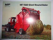 Massey Ferguson Dealers MF 1560 Giant Round Baler Sales Brochure ad literature
