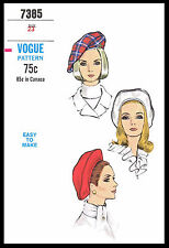 BERET HAT FASCINATOR CHEMO Alopecia VOGUE 7385 Millinery Fabric Sew Pattern