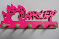wooden coat pegs hangers personalised Disney style with minnie Fluorescent