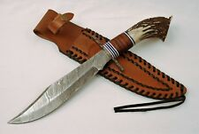 Damascus Bowie Knife with Crown Stag Antler Handle & Leather Sheath