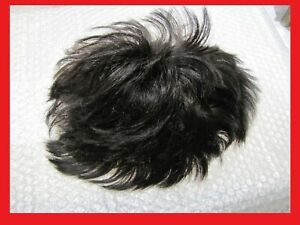 """Men's Full French Lace Human Hair System Piece Toupee 1B Off Black 7"""" X 9"""""""