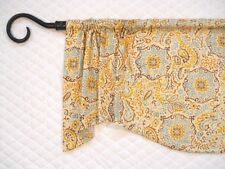 MN~ MOSAIC TILE~teal~gold~brown~beige~blue~rust~Valance~curtain~Window~Topper~
