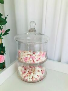2 Layers Stackable Decorative Glass Jar Storage Cakes Sweets Cookies Jars 29x18