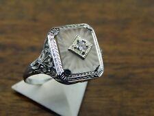 Vintage 14k white gold ART DECO CAMPHOR GLASS DIAMOND FILIGREE ring