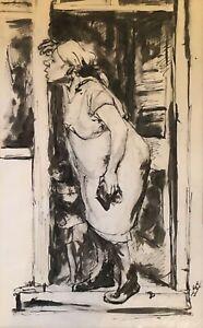 WPA era drawing of African-American figures by Midwest artist, Herman H. Wessel