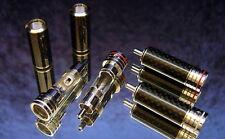 4x High-End Carbon CINCH-Stecker RHODIUM - Karbon - Chinch Connector - RCA Plug