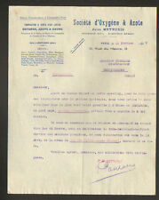 "PARIS (VIII°) USINE à MONTLUCON / OXYGENE , AZOTE & OZONE ""Jules MEYRUEIS"" 1917"