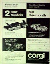 1967 Corgi~Diecast Cars Corvette Sting-Ray~Lincoln~Ferrari Toy Memorabilia AD