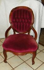 Red Velvet Walnut Carved Parlor Chair Sidechair (Sc77)