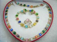 Set 4 PCS 18K Gold Plated Opal Necklace Bracelet Earring RIng Women Jewelry Gift