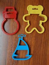 Lot of 3 Wilton Cookie Cutters - Teddy Bear, Sailboat & Snowman