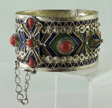 SILVER OR METAL ALLOY FAUX CORAL ENAMEL MIDDLE EASTERN OR RUSSIAN STYLE BRACELET