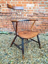 18th Century English Antique Comb Back Windsor Armchair Beautiful Burrwood Seat