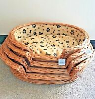 Wicker Pet Bed Basket with Removable Cushion - Dog/Puppy/Pet Basket - Check Size
