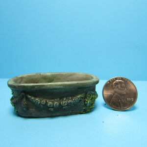 Dollhouse Miniature Decorative Oval Flower Box / Planter in Aged Brown A1005B
