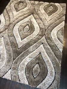 New Approx 7x5ft 160x210cm Tear Drop 3D Rugs Good Top Quality Beige/Brown