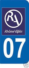 2 STICKERS RA 07 style PLAQUE D'IMMATRICULATION Département Région Rhône Alpes