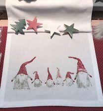 Tischläufer mit Wichtel weiss grau rot 35 cm x 120 cm Baumwolle Schweden