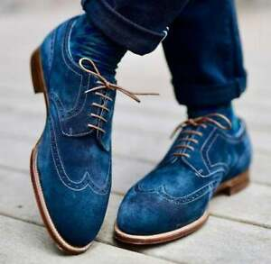 New Pure Handmade Blue Suede Leather Brogue Lace Up Shoes For Men's