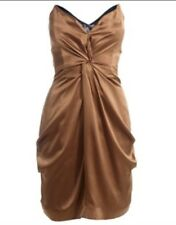 """(#1587) Reiss """"Courtney"""" Golden Brown/Bronze soie robe bustier taille XS/4 UK"""