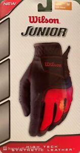 Wilson Junior - Left Hand Golf Glove Black/Red Size Medium