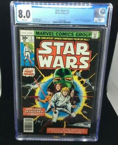 MARVEL - STAR WARS 1 - PART 1 STAR WARS: A NEW HOPE - CGC 8.0 - WHITE PAGES 7/77