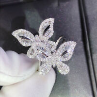 Charming Butterfly White Sapphire 925 Silver Wedding Engagement Ring Size 6-10