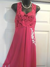 Soft Moments Deep Pink Mid-Calf Full Sweep- Solid /Nylon Nightgown-Gowns S-M EX.