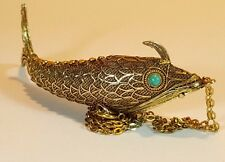 VINTAGE SILVER GILT FOB - ARTICULATED FILIGREE FISH VINAIGRETTE TURQUOISE EYES
