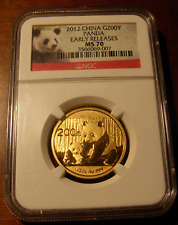 China 2012 Gold 1/2 oz Panda 200 Yuan NGC MS70 Early Releases