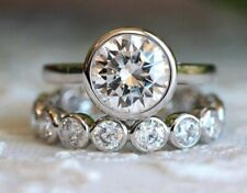 3.50 Ct Round Near White Moissanite Bezel Set Engagement Ring Set 14k White Gold