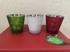 PartyLite Snowflake Christmas Holiday Votive Tealight Candle Holder Cups