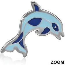 Edelstahl Ohrstecker Delfin blau Kinder Emaile Silber Stecker Ohrringe ME294