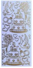 PEARL GLITTER WEDDING ICONS Peel Off Stickers Cake Dove Rings Bouquet Hearts