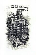 Fine art printmaking / original lithograph / city scene abstract / handmade