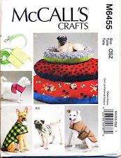 MCCALL'S SEWING PATTERN M6455 DOG BEDS IN 3 SIZES, LEASH, HARNESS, COAT & VEST