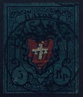 Swiss 1850 5r Greenish Blue Black Red Used Scott 7c - CV $650