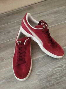 Womens PUMA SUEDE Classic Lace Up Running Trainers Burgundy/Beige UK5