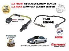 FOR HONDA CIVIC 1.3 IMA HYBRID 2003-2006 FRONT + REAR 02 OXYGEN 2 LAMBDA SENSOR