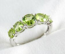 Genuine Peridot 5 Stone Ring 2.80ct in 925 Sterling Silver Size 6.5