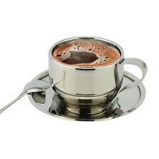 Stainless Steel Durable Coffee Tea Cup Saucer Spoon Set Double Wall Coffee Mug