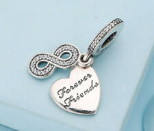 Genuine Silver Pandora Forever Friends Love Heart Pendant Charm Dangle 791948CZ