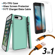 iPhone 8 Plus PC TPU Case + Glass Screen Protector + 9FT Charger/Data Cable 3in1