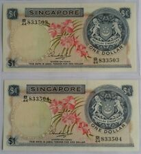 Singapore $1 Orchid Series Banknote HSS WO Seal 2pcs Rn B/44 833503~04 UNC