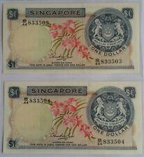 Singapore $1 Orchid Series Banknote HSS WO Seal 2pcs Rn B/44 833503~04 UNC