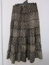 C.K.M. , SIZE S,[APPROX] BEIGE AND BROWN FULL SKIRT